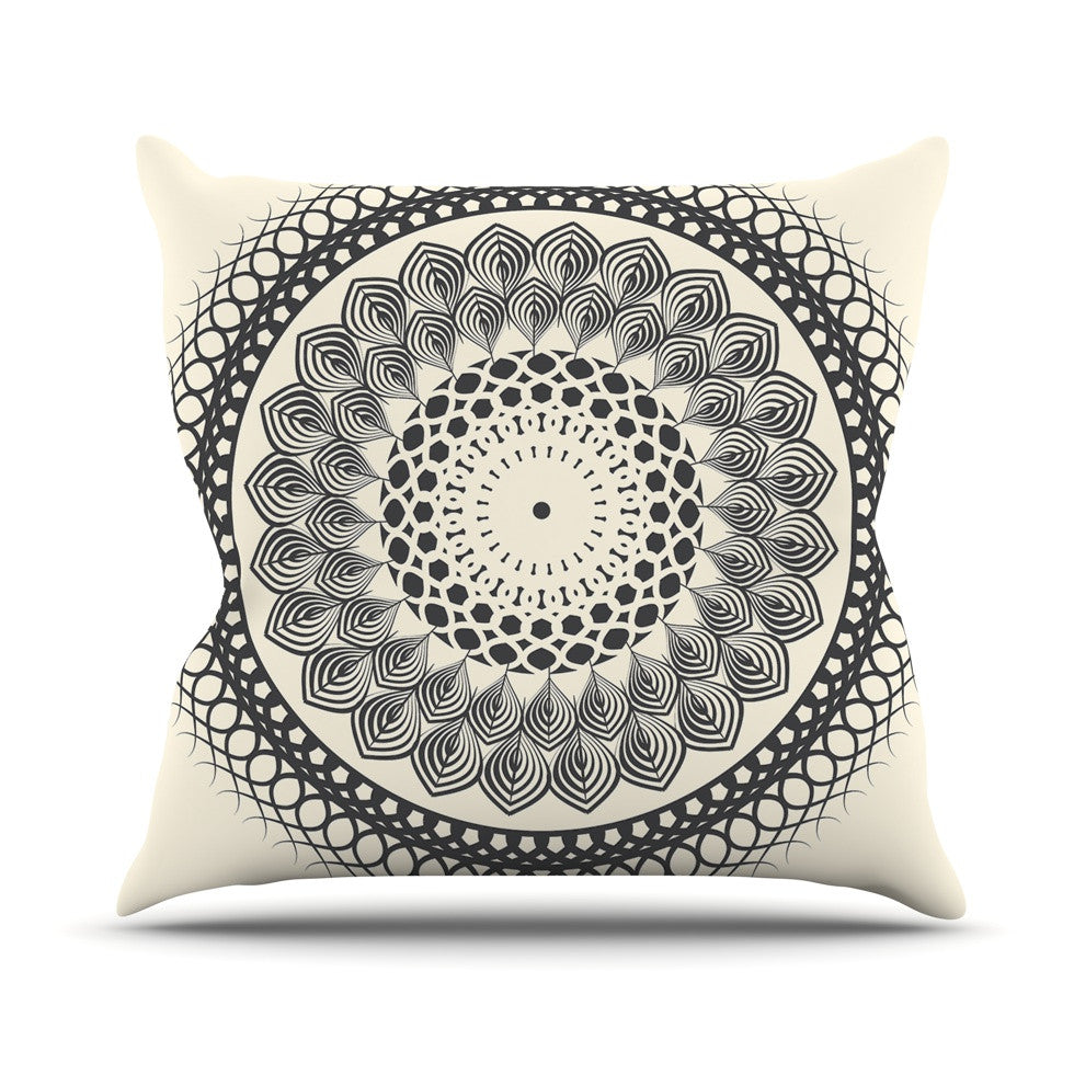 "Famenxt ""Black & White Boho Mandala"" Geometric Outdoor Throw Pillow - KESS InHouse  - 1"