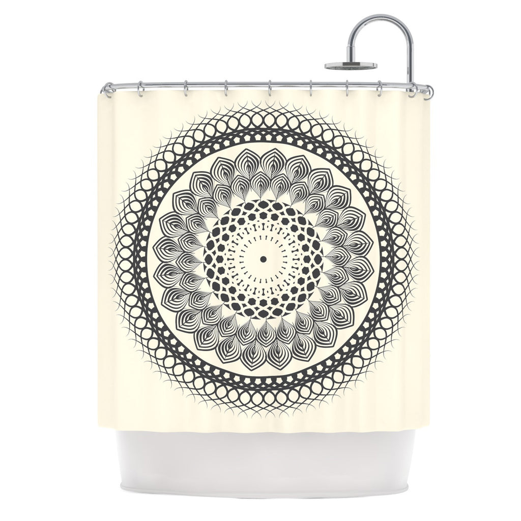 Black White Boho Mandala Shower Curtain By Famenxt