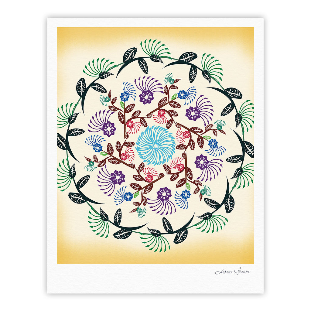 "Famenxt ""Nature Mandala"" Yellow Multicolor Fine Art Gallery Print - KESS InHouse"