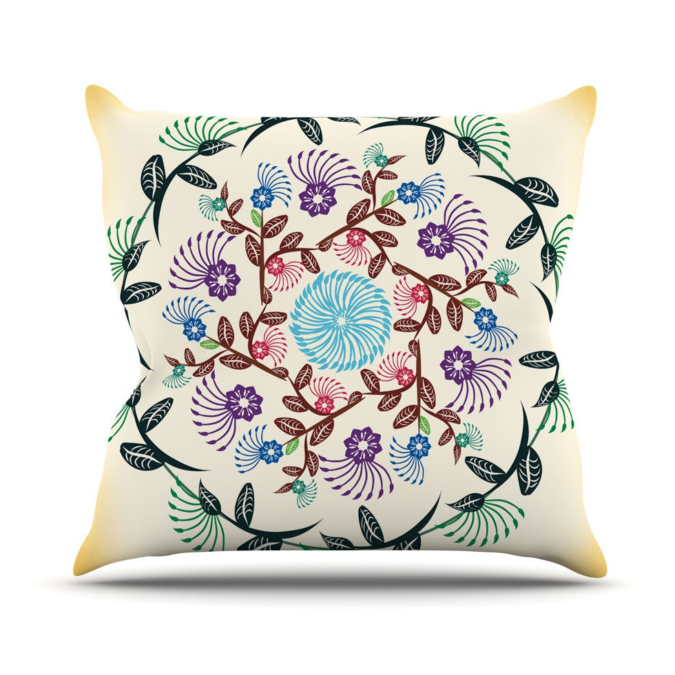 "Famenxt ""Nature Mandala"" Yellow Multicolor Outdoor Throw Pillow - KESS InHouse  - 1"