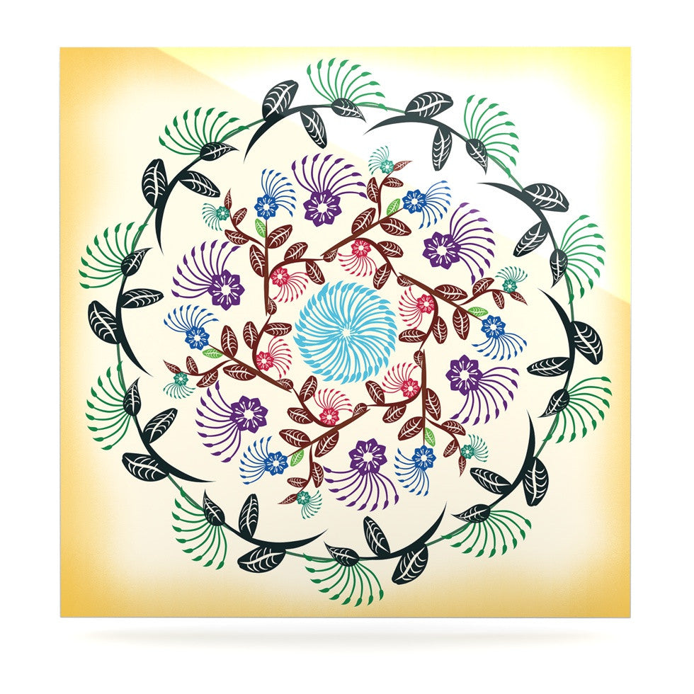 "Famenxt ""Nature Mandala"" Yellow Multicolor Luxe Square Panel - KESS InHouse  - 1"