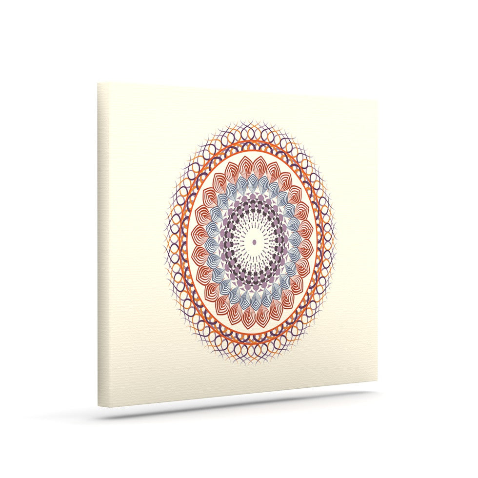 "Famenxt ""Vintage Mandala"" Yellow Multicolor Canvas Art - KESS InHouse  - 1"