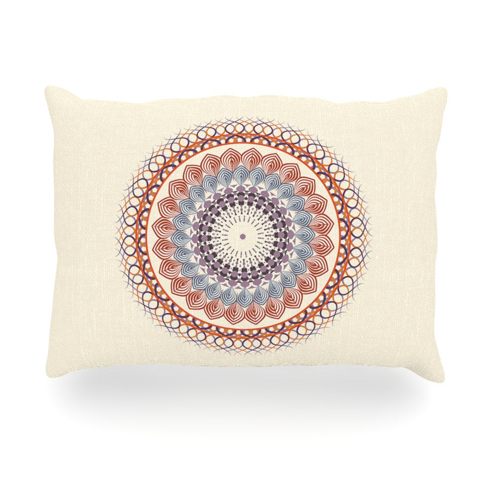 "Famenxt ""Vintage Mandala"" Yellow Multicolor Oblong Pillow - KESS InHouse"