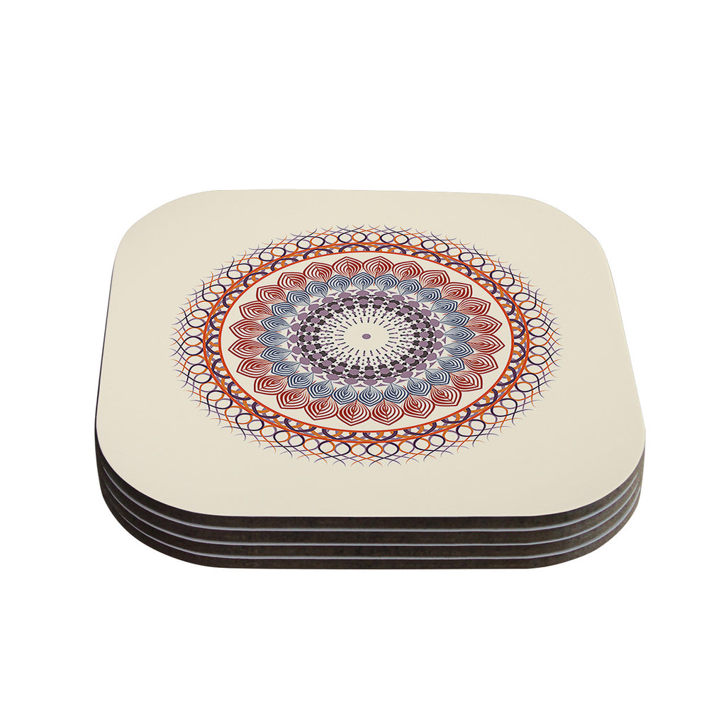 "Famenxt ""Vintage Mandala"" Yellow Multicolor Coasters (Set of 4)"