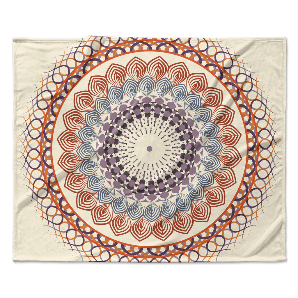 "Famenxt ""Vintage Mandala"" Yellow Multicolor Fleece Throw Blanket"