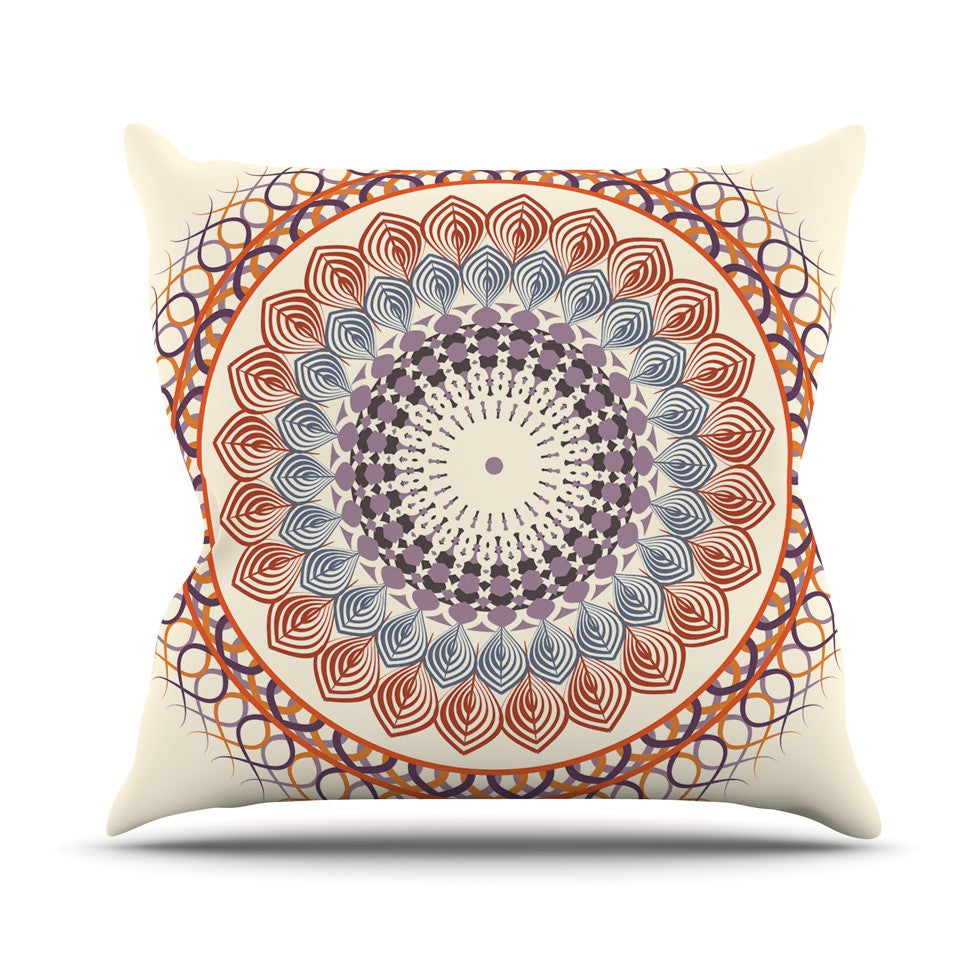 "Famenxt ""Vintage Mandala"" Yellow Multicolor Outdoor Throw Pillow - KESS InHouse  - 1"