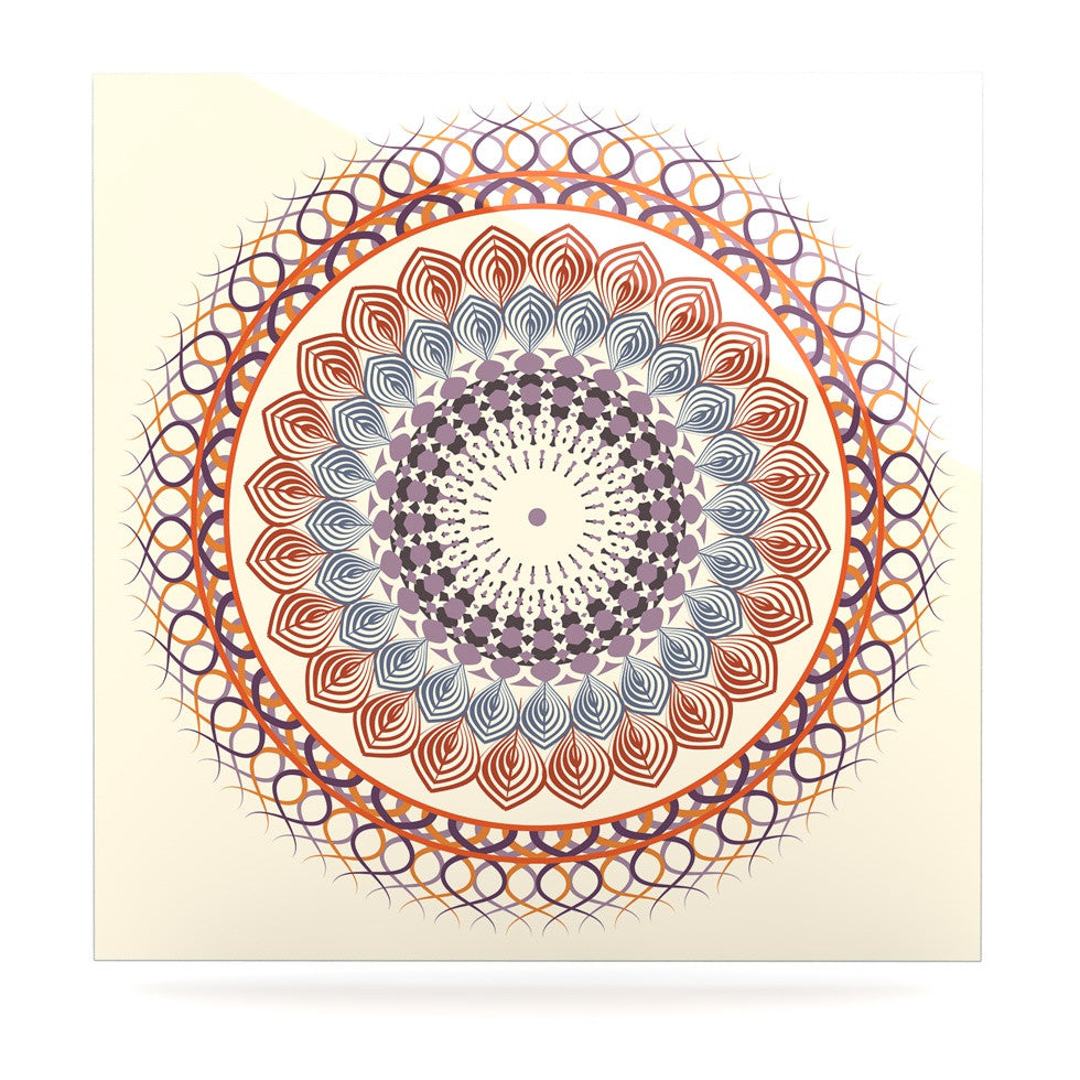 "Famenxt ""Vintage Mandala"" Yellow Multicolor Luxe Square Panel - KESS InHouse  - 1"