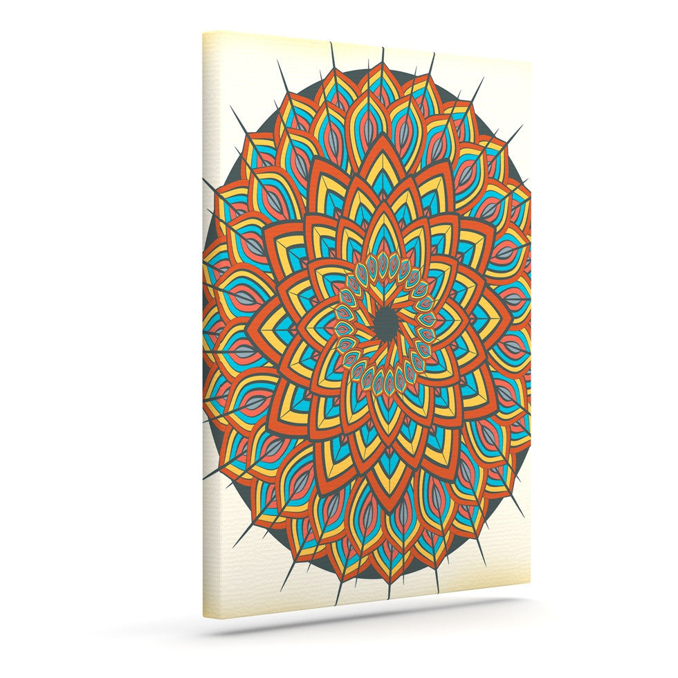 "Famenxt ""Floral Mandala"" Multicolor Geometric Canvas Art - KESS InHouse  - 1"