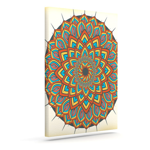 "Famenxt ""Floral Mandala"" Multicolor Geometric Canvas Art - Outlet Item"