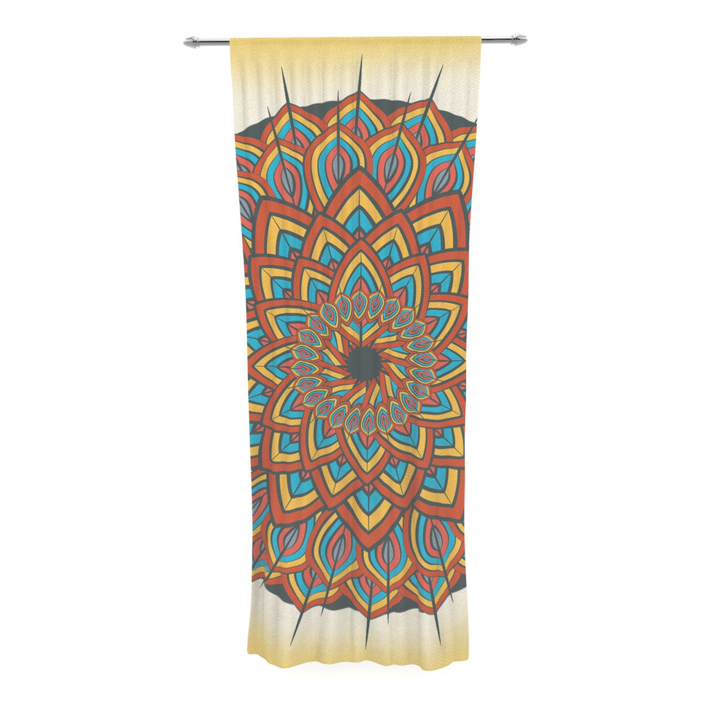 "Famenxt ""Floral Mandala"" Multicolor Geometric Decorative Sheer Curtain - KESS InHouse  - 1"