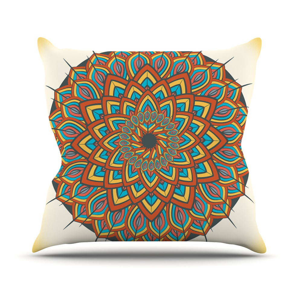 "Famenxt ""Floral Mandala"" Multicolor Geometric Outdoor Throw Pillow - KESS InHouse  - 1"