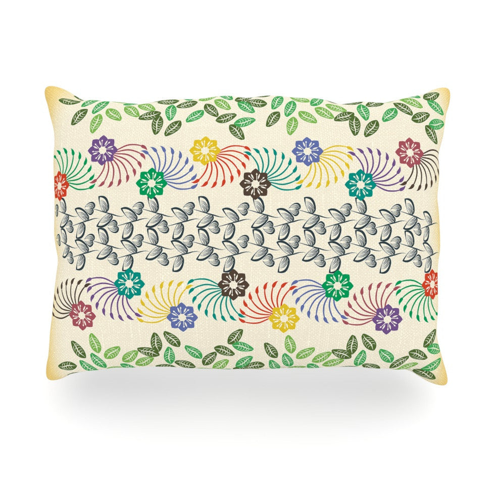 "Famenxt ""Flowers & Leaves Pattern"" Abstract Geometric Oblong Pillow - KESS InHouse"