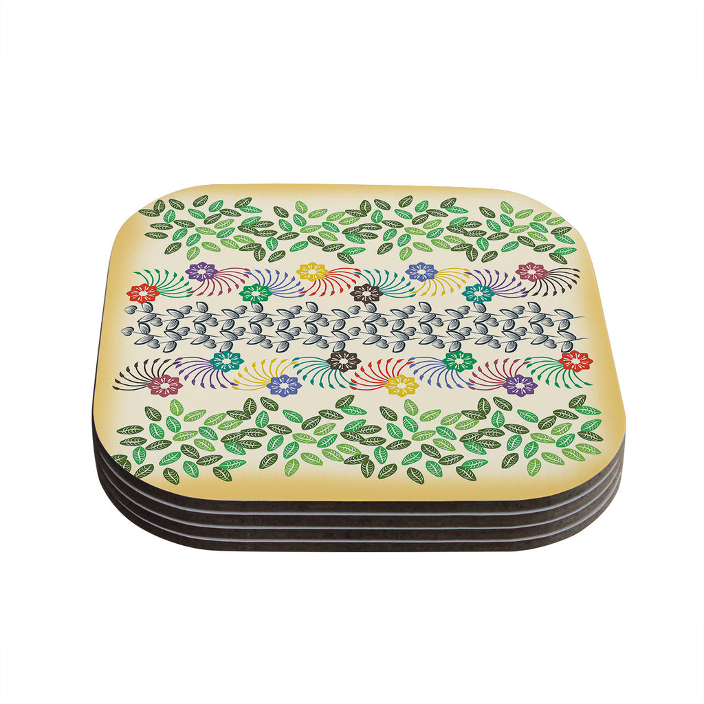 "Famenxt ""Flowers & Leaves Pattern"" Abstract Geometric Coasters (Set of 4)"