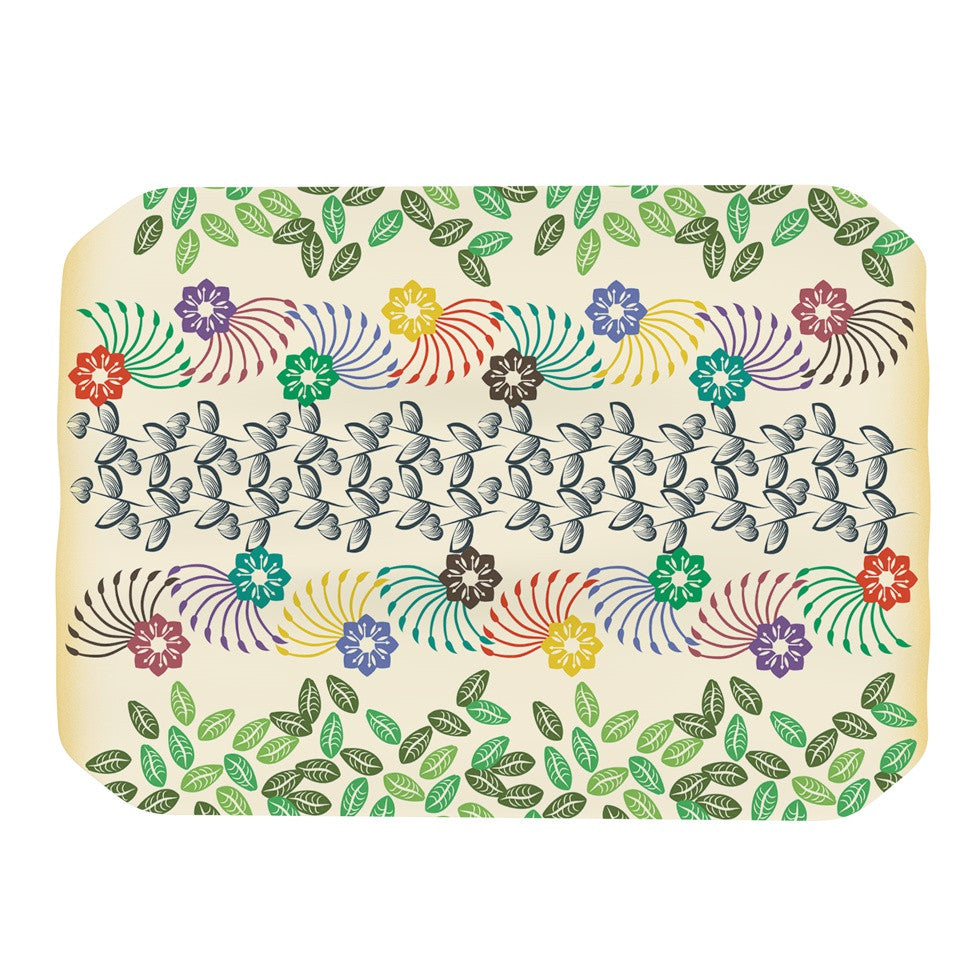 "Famenxt ""Flowers & Leaves Pattern"" Abstract Geometric Place Mat - KESS InHouse"