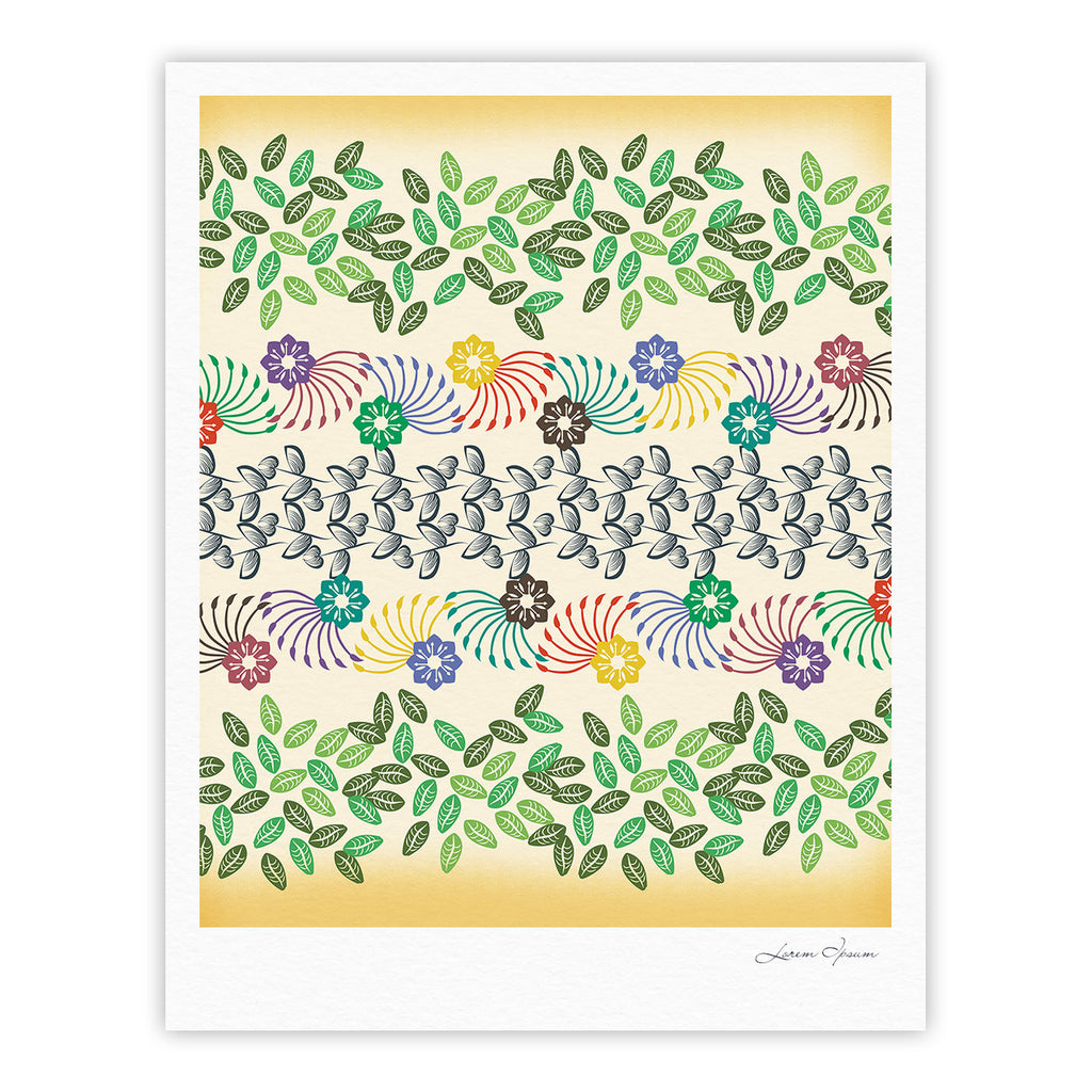 "Famenxt ""Flowers & Leaves Pattern"" Abstract Geometric Fine Art Gallery Print - KESS InHouse"