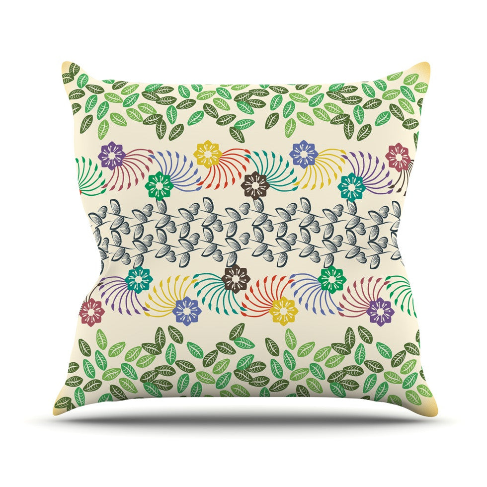 "Famenxt ""Flowers & Leaves Pattern"" Abstract Geometric Throw Pillow - KESS InHouse  - 1"