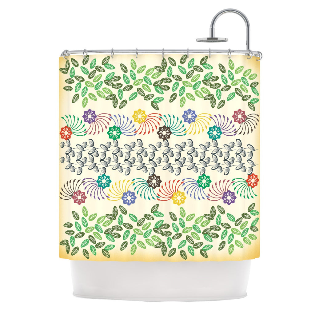 "Famenxt ""Flowers & Leaves Pattern"" Abstract Geometric Shower Curtain - KESS InHouse"