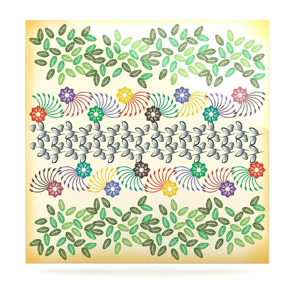 "Famenxt ""Flowers & Leaves Pattern"" Abstract Geometric Luxe Square Panel - KESS InHouse  - 1"