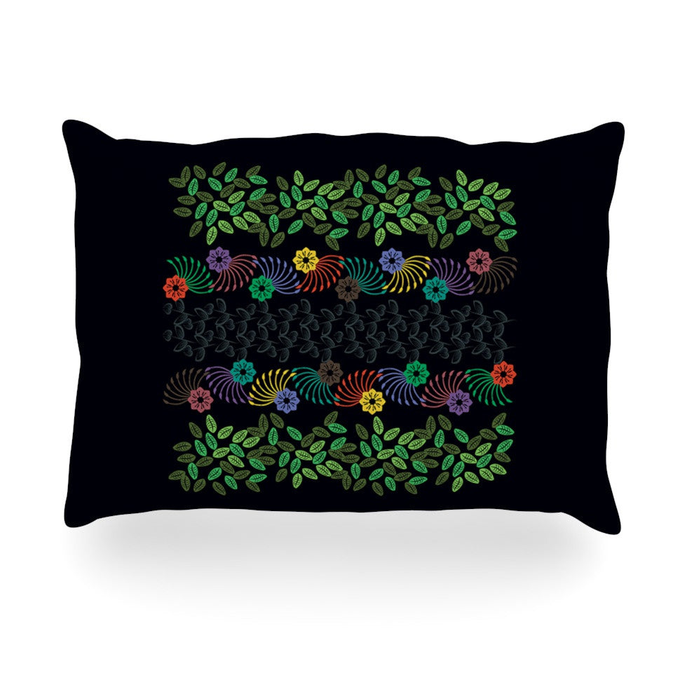 "Famenxt ""Dark Jungle Pattern"" Black Green Oblong Pillow - KESS InHouse"