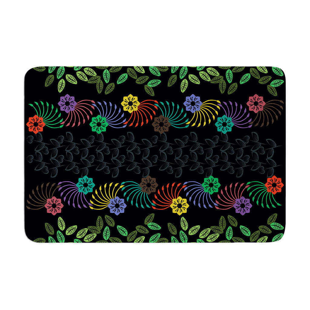"Famenxt ""Dark Jungle Pattern"" Black Green Memory Foam Bath Mat - KESS InHouse"