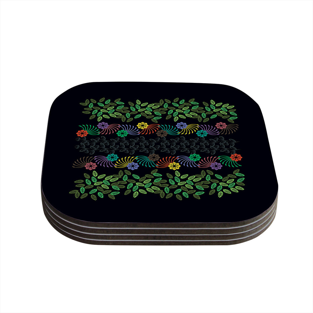 "Famenxt ""Dark Jungle Pattern"" Black Green Coasters (Set of 4)"