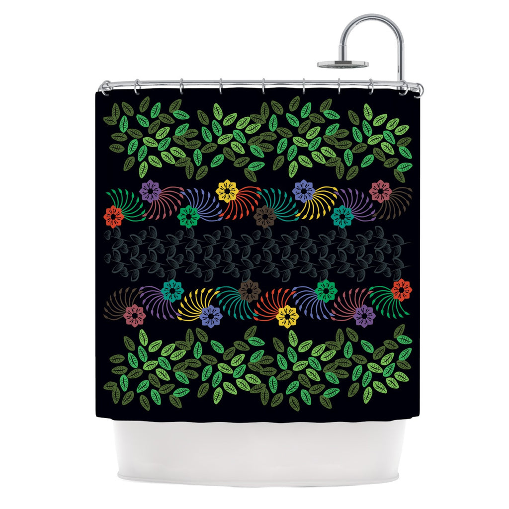 "Famenxt ""Dark Jungle Pattern"" Black Green Shower Curtain - KESS InHouse"