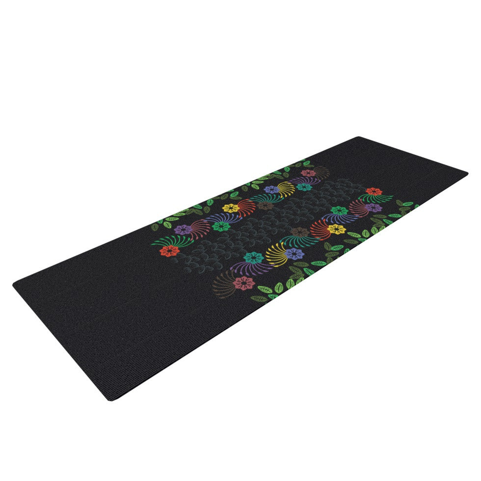 "Famenxt ""Dark Jungle Pattern"" Black Green Yoga Mat - KESS InHouse  - 1"