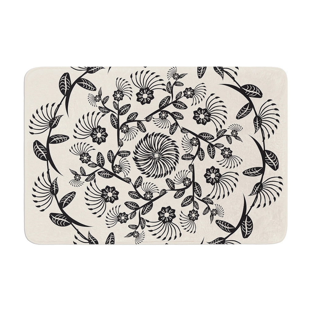 "Famenxt ""Black & White Decorative Mandala"" Geometric Memory Foam Bath Mat - KESS InHouse"