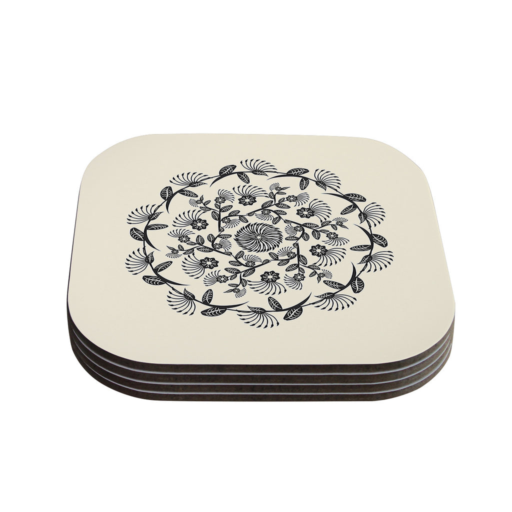 "Famenxt ""Black & White Decorative Mandala"" Geometric Coasters (Set of 4)"