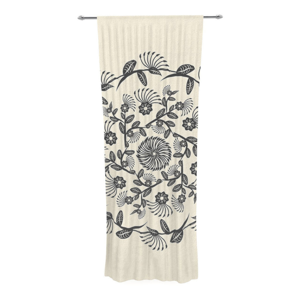 "Famenxt ""Black & White Decorative Mandala"" Geometric Decorative Sheer Curtain - KESS InHouse  - 1"