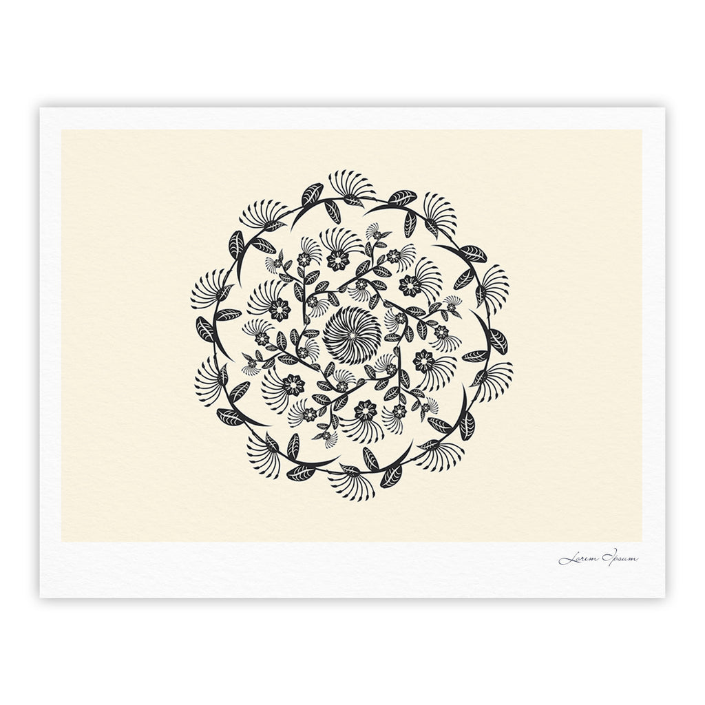 "Famenxt ""Black & White Decorative Mandala"" Geometric Fine Art Gallery Print - KESS InHouse"