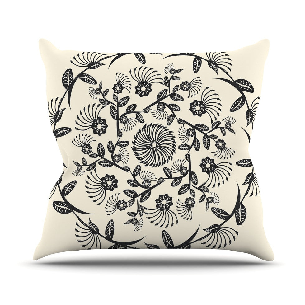 "Famenxt ""Black & White Decorative Mandala"" Geometric Throw Pillow - KESS InHouse  - 1"