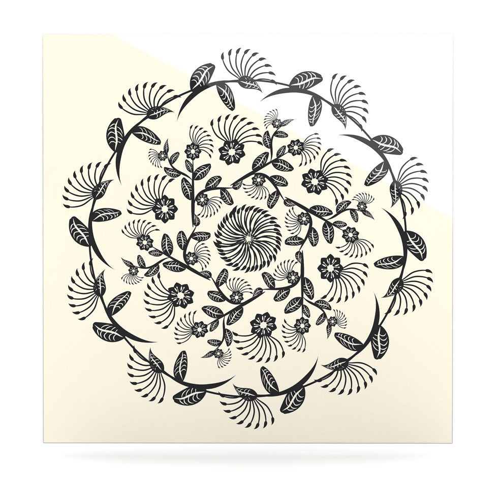 "Famenxt ""Black & White Decorative Mandala"" Geometric Luxe Square Panel - KESS InHouse  - 1"