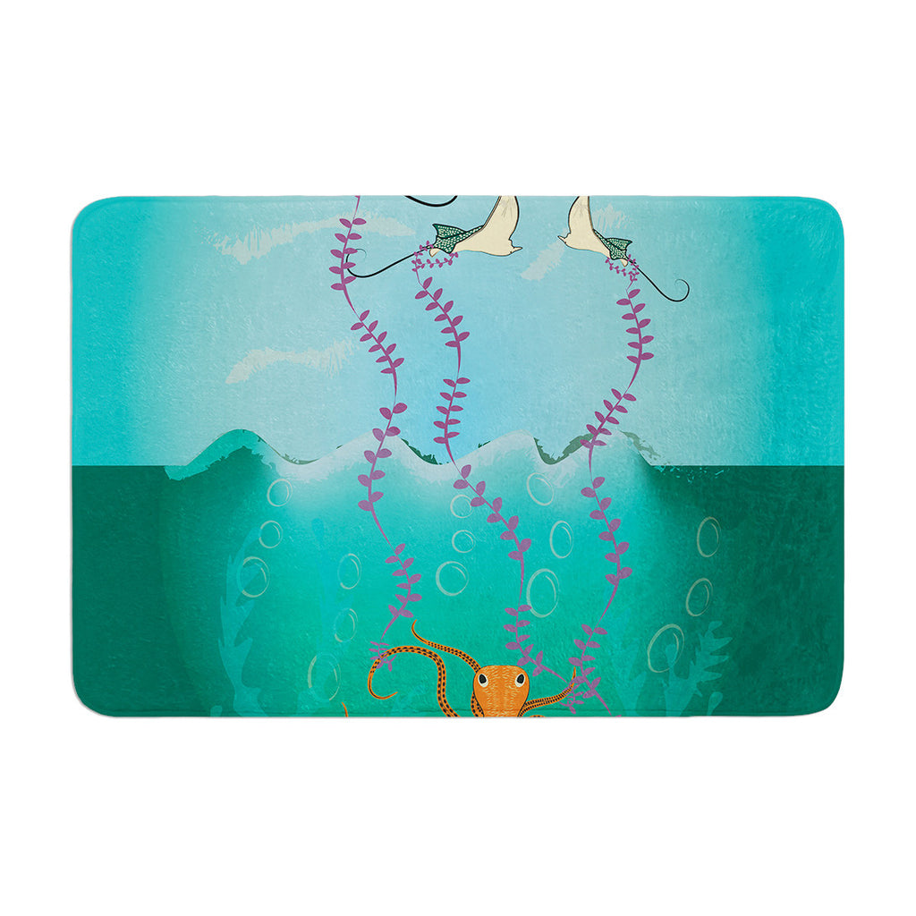 "Famenxt ""Octopus Flying Manta Rays"" Teal Green Memory Foam Bath Mat - KESS InHouse"