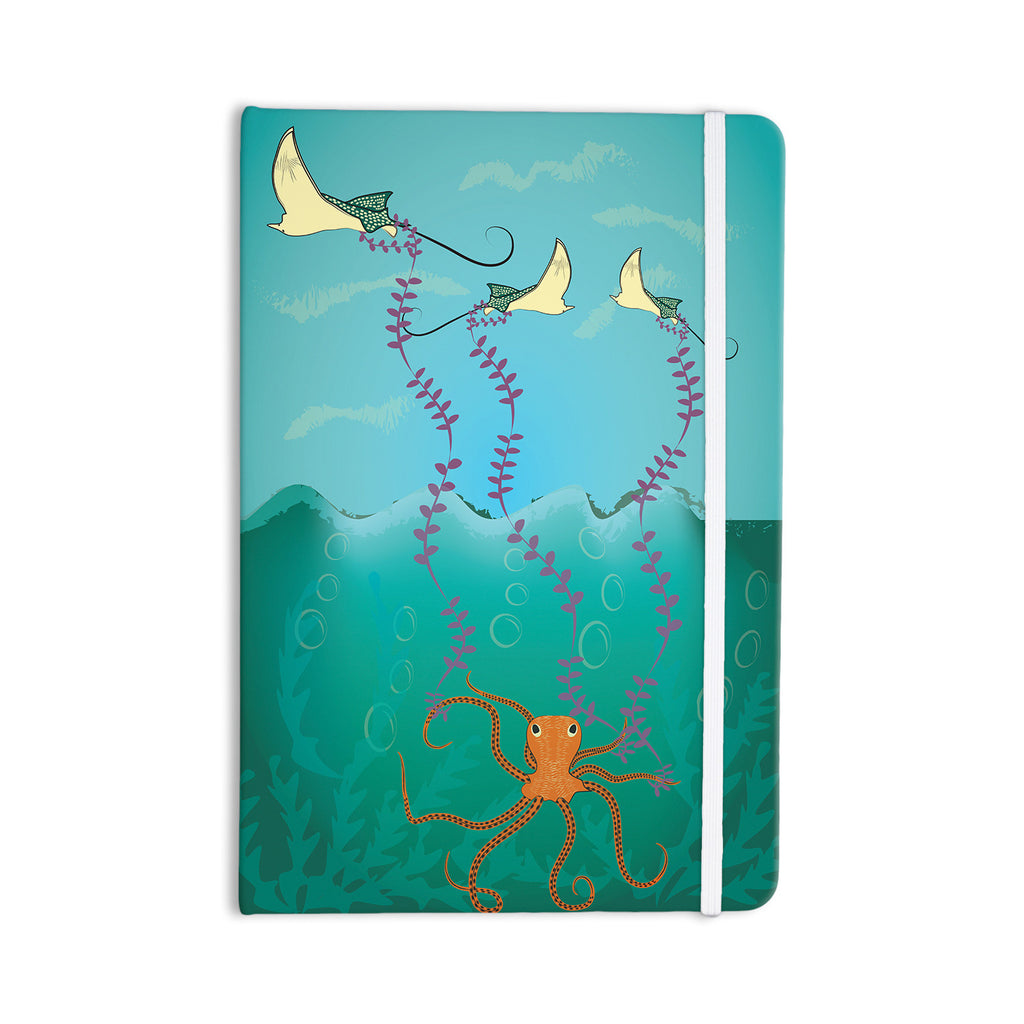 "Famenxt ""Octopus Flying Manta Rays"" Teal Green Everything Notebook - KESS InHouse  - 1"