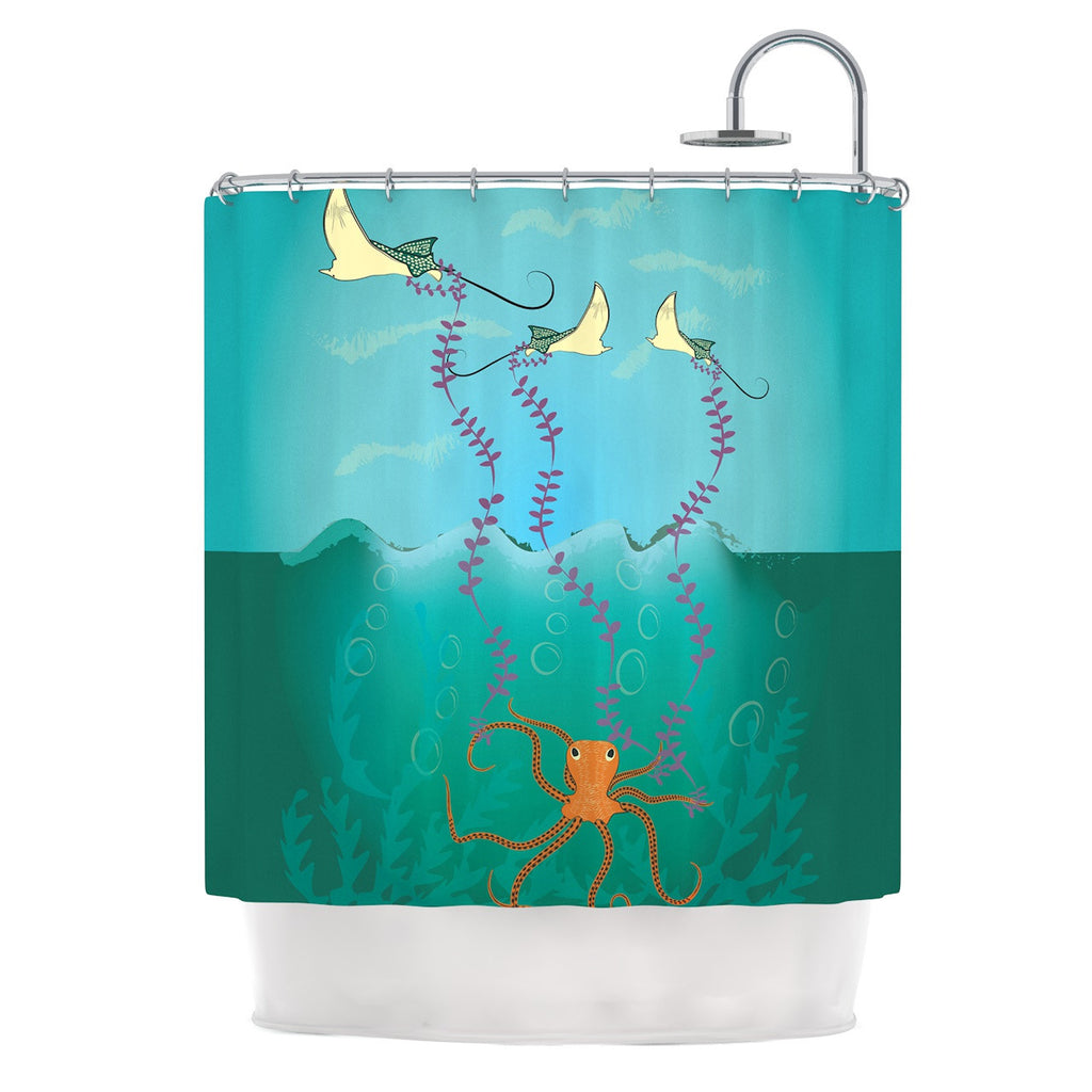 "Famenxt ""Octopus Flying Manta Rays"" Teal Green Shower Curtain - KESS InHouse"
