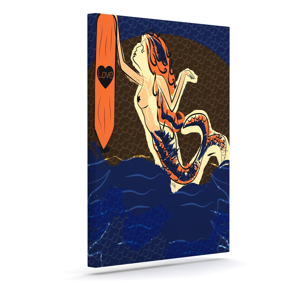 "Famenxt ""Mermaid"" Blue Orange Canvas Art - KESS InHouse  - 1"
