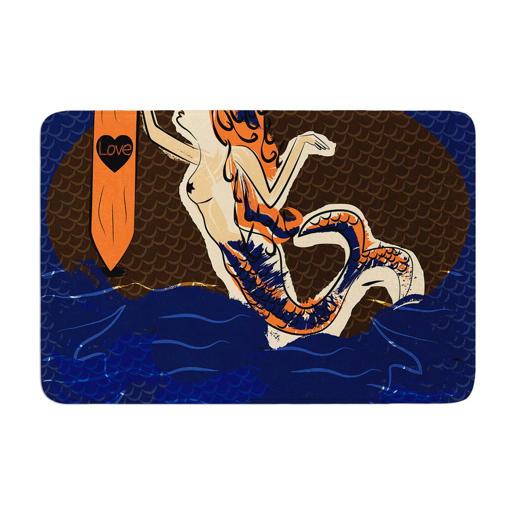 "Famenxt ""Mermaid"" Blue Orange Memory Foam Bath Mat - KESS InHouse"