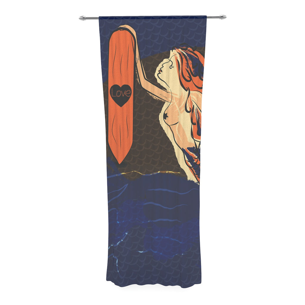"Famenxt ""Mermaid"" Blue Orange Decorative Sheer Curtain - KESS InHouse"