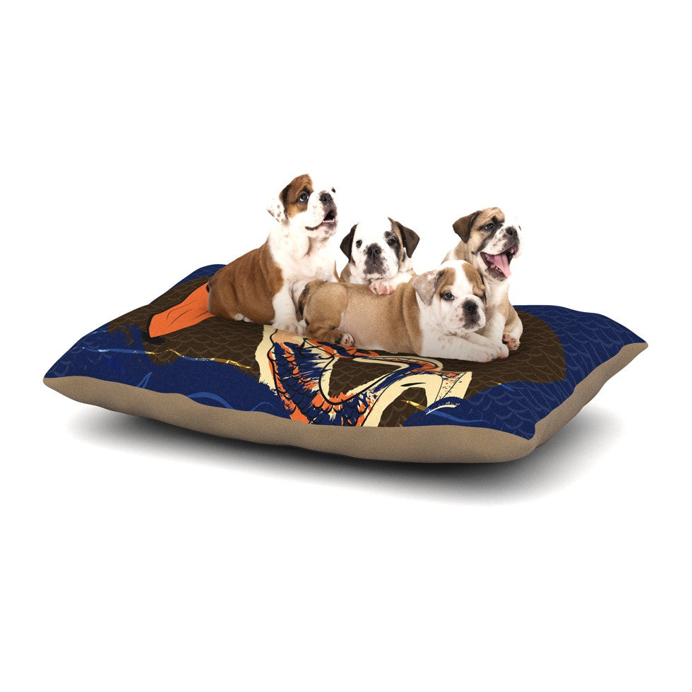 "Famenxt ""Mermaid"" Blue Orange Dog Bed - KESS InHouse  - 1"