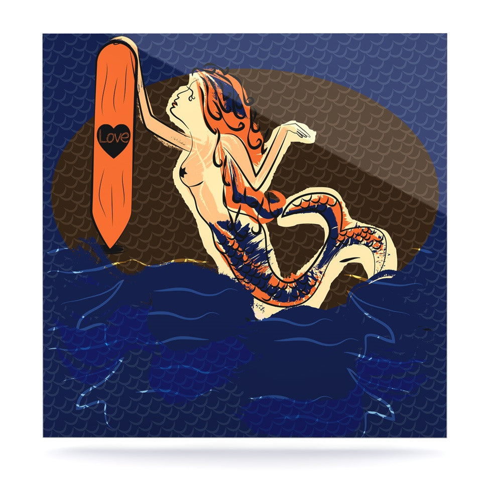 "Famenxt ""Mermaid"" Blue Orange Luxe Square Panel - KESS InHouse  - 1"