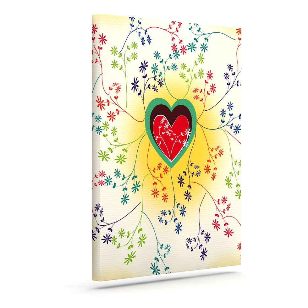 "Famenxt ""Romantic"" Yellow Heart Canvas Art - KESS InHouse  - 1"