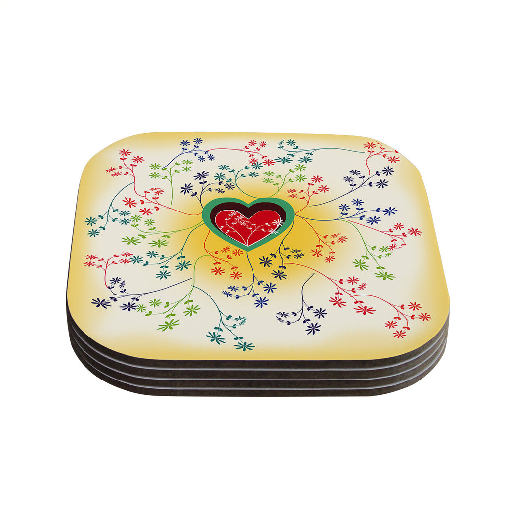 "Famenxt ""Romantic"" Yellow Heart Coasters (Set of 4)"