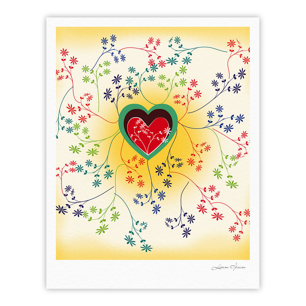 "Famenxt ""Romantic"" Yellow Heart Fine Art Gallery Print - KESS InHouse"