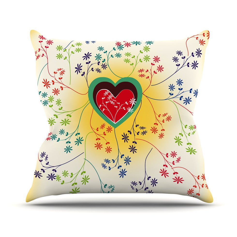 "Famenxt ""Romantic"" Yellow Heart Throw Pillow - KESS InHouse  - 1"
