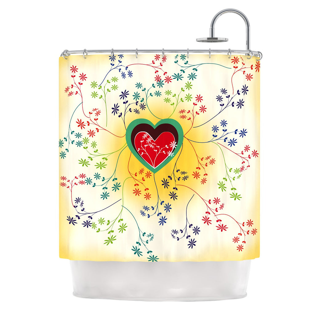 "Famenxt ""Romantic"" Yellow Heart Shower Curtain - KESS InHouse"