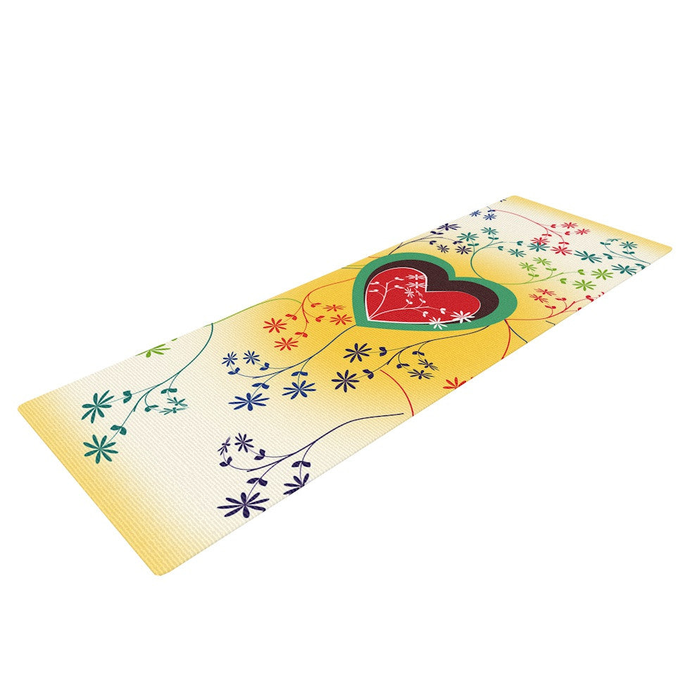 "Famenxt ""Romantic"" Yellow Heart Yoga Mat - KESS InHouse  - 1"