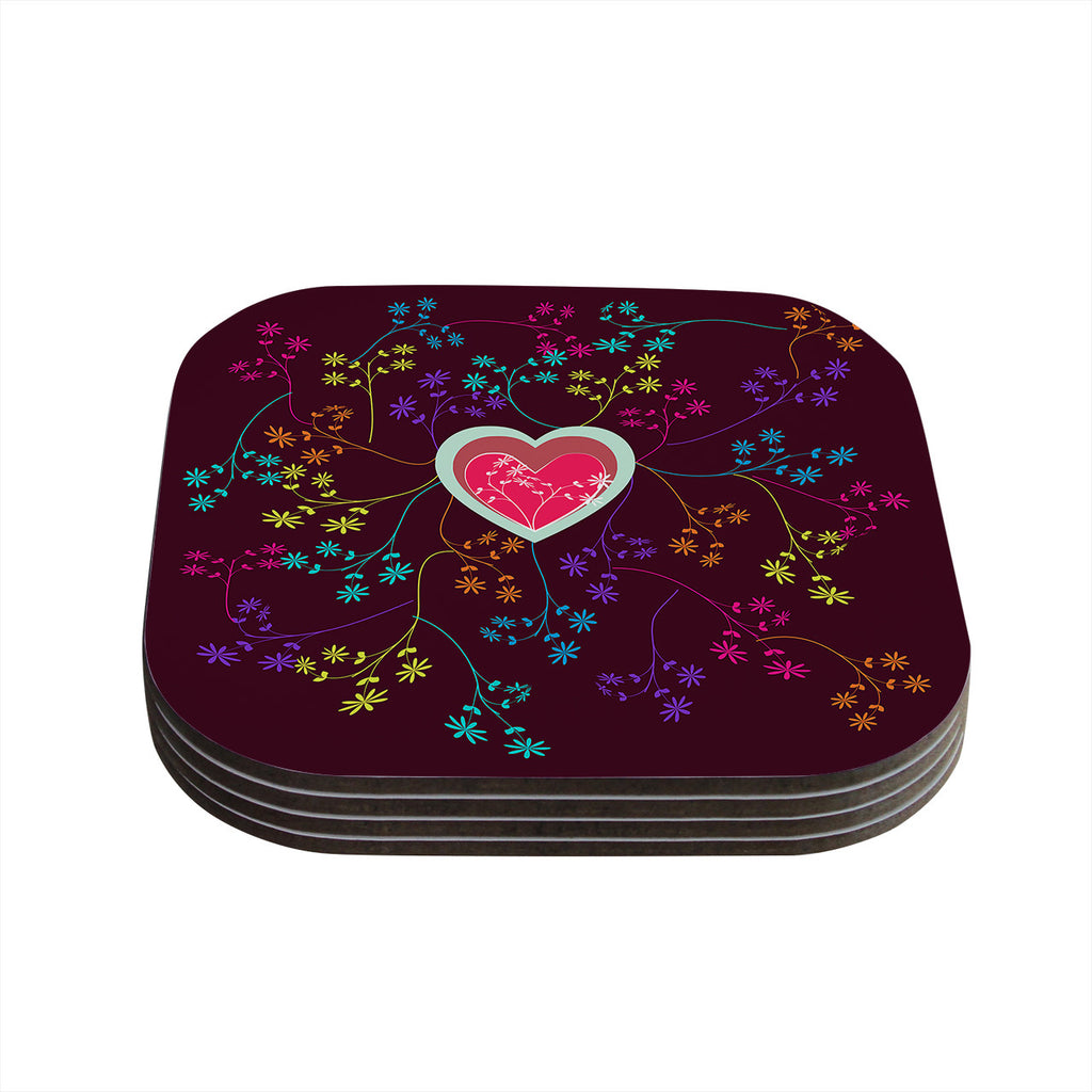 "Famenxt ""Love Heart"" Multicolor Heart Coasters (Set of 4)"