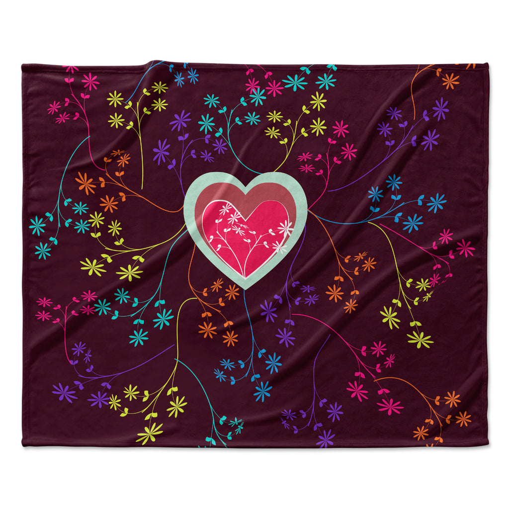 "Famenxt ""Love Heart"" Multicolor Heart Fleece Throw Blanket"