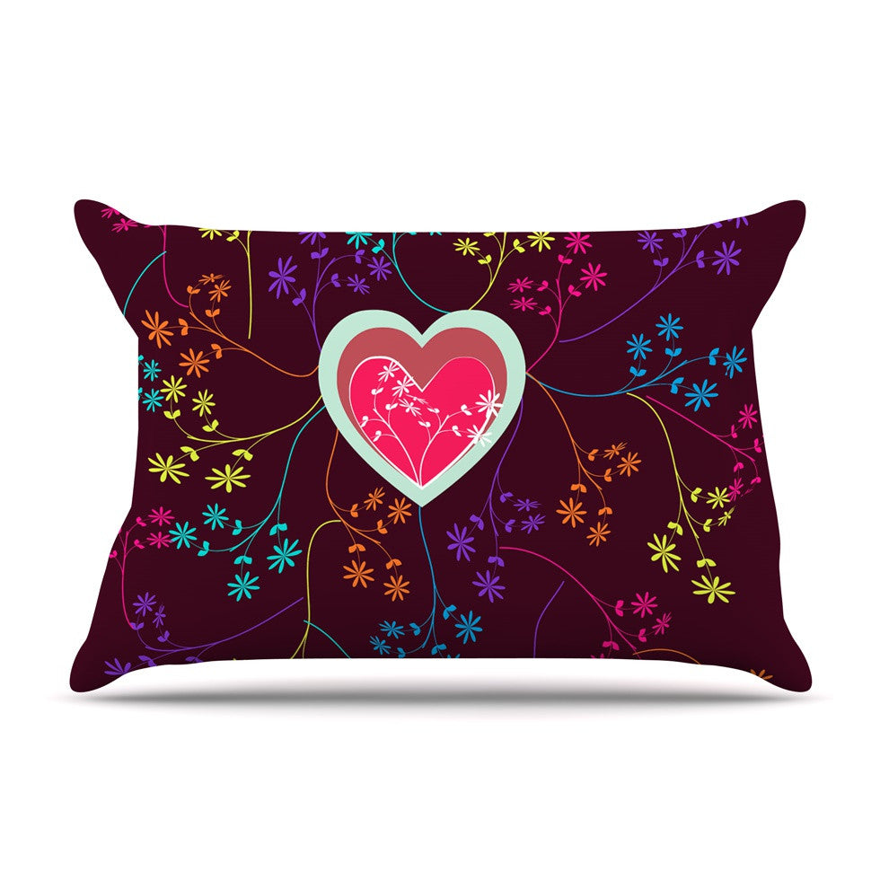 "Famenxt ""Love Heart"" Multicolor Heart Pillow Sham - KESS InHouse"